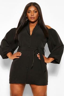 boohoo Plus Open Shoulder Blazer Dress
