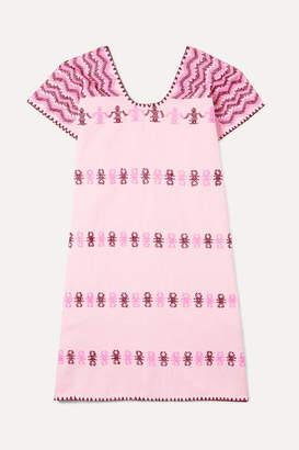 Pippa Holt Kids - Embroidered Striped Cotton Kaftan - Pink