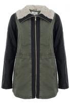 Quiz Khaki And Black PU Zip Front Collar Jacket