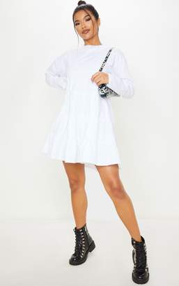 PrettyLittleThing White Tiered Long Sleeve Crew Neck Smock Dress