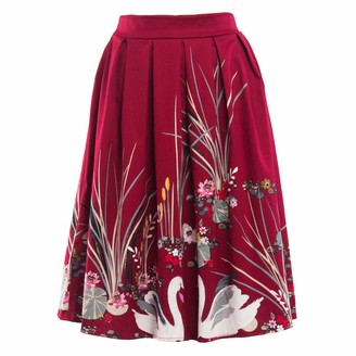 Toamen Women's Dress Toamen A-Line Pleated Vintage Skirts for Women Sale Basic Floral Printed High Waist Casual Skater Skirt (Red 12)