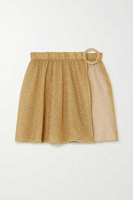 Oseree Embellished Metallic Lurex Mini Skirt - Gold