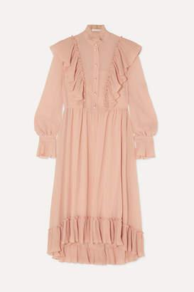 See by Chloe Ruffled Chiffon Midi Dress - Pink