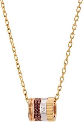 Boucheron Quatre Classique 18K Tri-Tone Gold, Brown PVD & Diamond Pendant Necklace