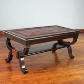Novica Fern Garland Elegant Brown Hand Tooled Leather and Mohena Wood Statement Coffee Table (Peru)