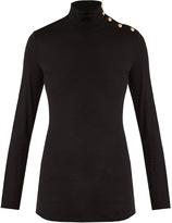 Balmain Button-shoulder roll-neck wool-knit sweater
