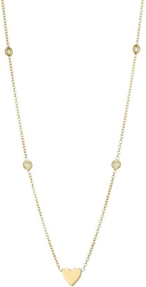 Zoë Chicco 14K Yellow Gold & Diamond Bezel Station Heart Pendant Necklace