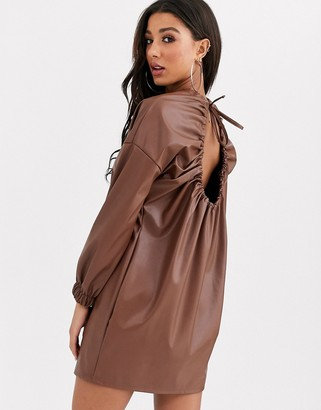 Asos Design DESIGN leather look open back dress-Beige