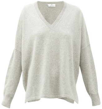Allude V-neck Oversized Cashmere Sweater - Womens - Grey
