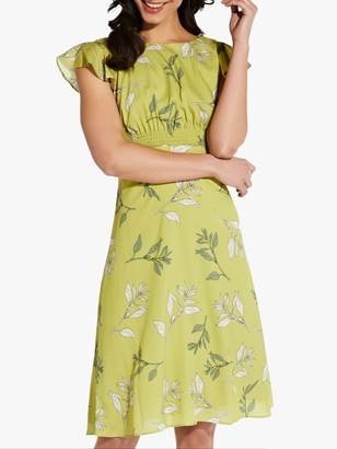 Adrianna Papell Tranquil Leaves Print A-Line Dress, Citron/Multi