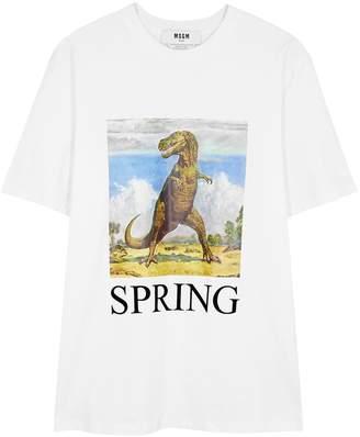 MSGM White Printed Cotton T-shirt