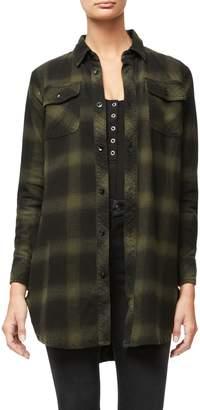 Good American Oversized Plaid Cotton Shirtdress