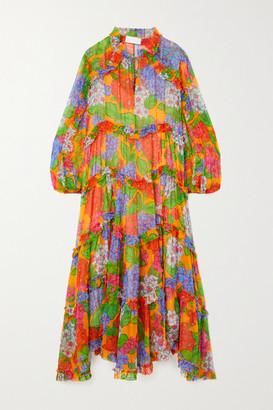 Zimmermann Riders Ruffled Tiered Floral-print Silk-crepon Midi Dress - Orange