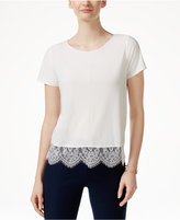 CeCe Scalloped Lace-Trim T-Shirt