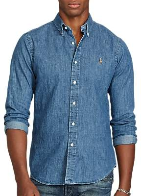 Ralph Lauren Polo Long Sleeve Slim Fit Denim Shirt, Blue