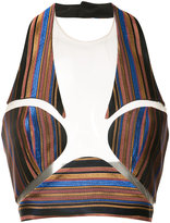 Balmain striped bralette - women - Silk/Polyester/Acetate - 36