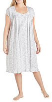Eileen West Plus Lace-Print Jersey Waltz Nightgown