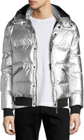 Armani Collezioni Metallic Short Puffer Jacket, Gray