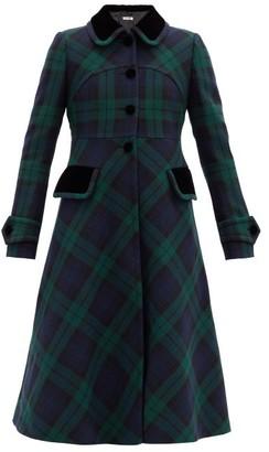 Miu Miu Velvet-collar Tartan-wool Coat - Green Multi