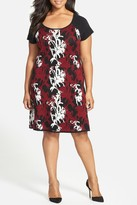 Taylor Cascade Floral Knit Dress (Plus Size)
