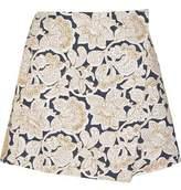 Suno Embroidered Cotton-Canvas Mini Skirt