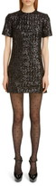 Saint Laurent Shimmer Sequin Short Sleeve Minidress