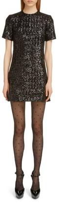 Saint Laurent Shimmer Sequin Short Sleeve Minidress