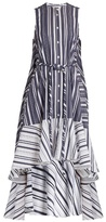 Palmer Harding PALMER//HARDING Waterfall-hem striped cotton-poplin dress