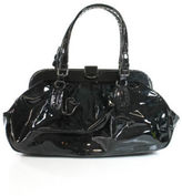 Giorgio Armani AUTH Black Patent Leather Top Handle Tote Handbag