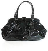 Giorgio Armani AUTH Black Patent Leather Top Handle Tote Handbag