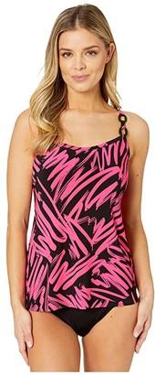 Magicsuit Sketchy Kate Tankini Top (Black/Pink) Women's Swimwear