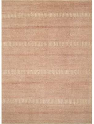 Clarendon Union Rustic One-of-a-Kind Fine Grass Ahmar Hand-Knotted 9' x 12' Wool Red/Beige Area Rug Union Rustic