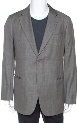 Armani Collezioni Grey Houndstooth Wool and Linen Blend Blazer XXL