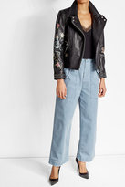 Zadig & Voltaire Printed and Studded Leather Biker Jacket