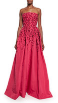 Oscar de la Renta Floral-Embroidered Strapless Ball Gown, Raspberry/Black