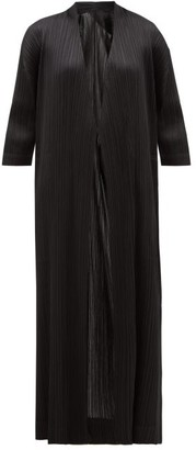 Pleats Please Issey Miyake Technical-pleated Satin Coat - Womens - Black