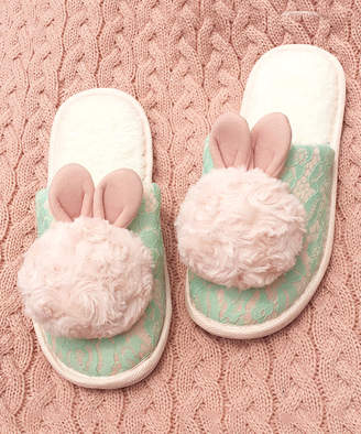 Dudu Town TOWN Women's Slippers Green - Green Lace Bunny Slipper - Women