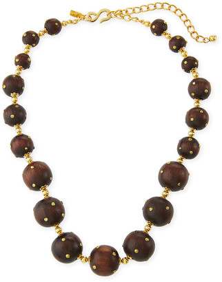 Kenneth Jay Lane Wood Bead Necklace