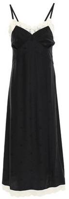 McQ Pintucked Lace-trimmed Silk-satin Jacquard Slip Dress