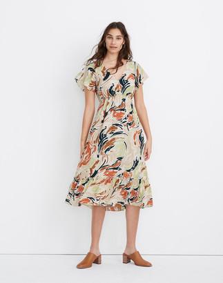 Madewell Flutter-Sleeve Ruffle-Waist Midi Dress in Brushing Up