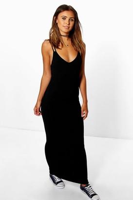 boohoo Petite Strappy Basic Maxi Dress