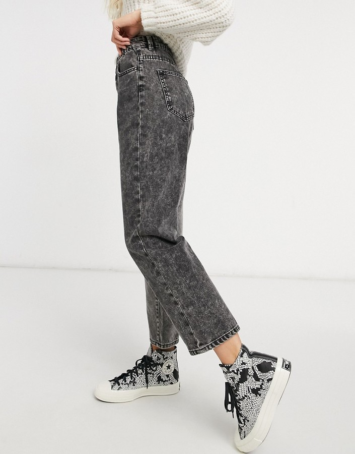 Thumbnail for your product : Stradivarius straight leg contrast two tone jeans in washed black