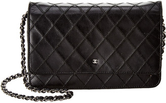 Chanel Black Lambskin Leather Wallet On Chain
