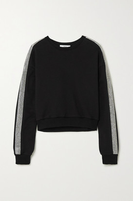 Area Cropped Crystal-embellished Cotton-jersey Sweater - Black