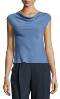 Armani Collezioni Charmeuse Cowl-Neck Cap-Sleeve Blouse, Medium Blue