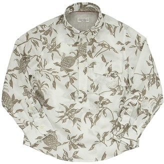 Brunello Cucinelli Cotton Tropical Print Shirt With Chest Pocket
