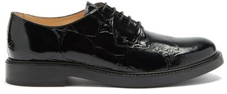 Tod's Crocodile-embossed Patent-leather Brogues - Black