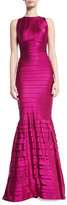 Kay Unger New York Tiered Stretch Satin Mermaid Gown, Burgundy