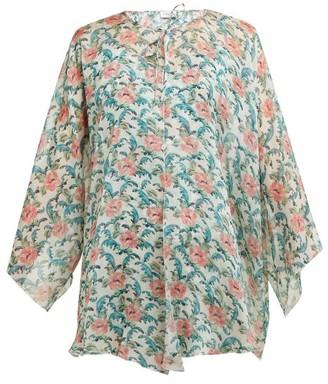Raquel Diniz Garden Flower-print Neck-tie Silk Jacket - Green Multi