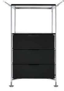 """Kartell 26.38"""" Mobil Style: 3 Drawers with Open Shelf and Feet, Color: Opaque Glossy Smoke"""
